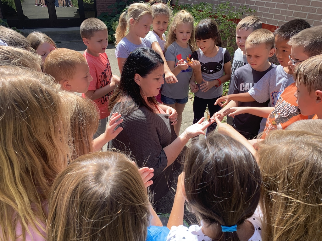 Mrs. Fulk's 2nd Grade class release their Monarch butterflies today