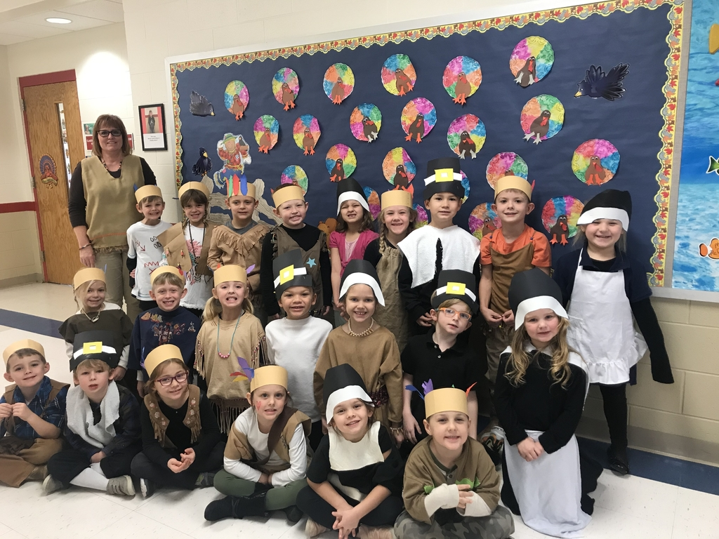 Kindergarten enjoyed Thanksgiving but dressing as Pilgrims and Native Americans. Our students have learned a lot about the 1st Thanksgiving. This week they have shared what they are thankful for with the class