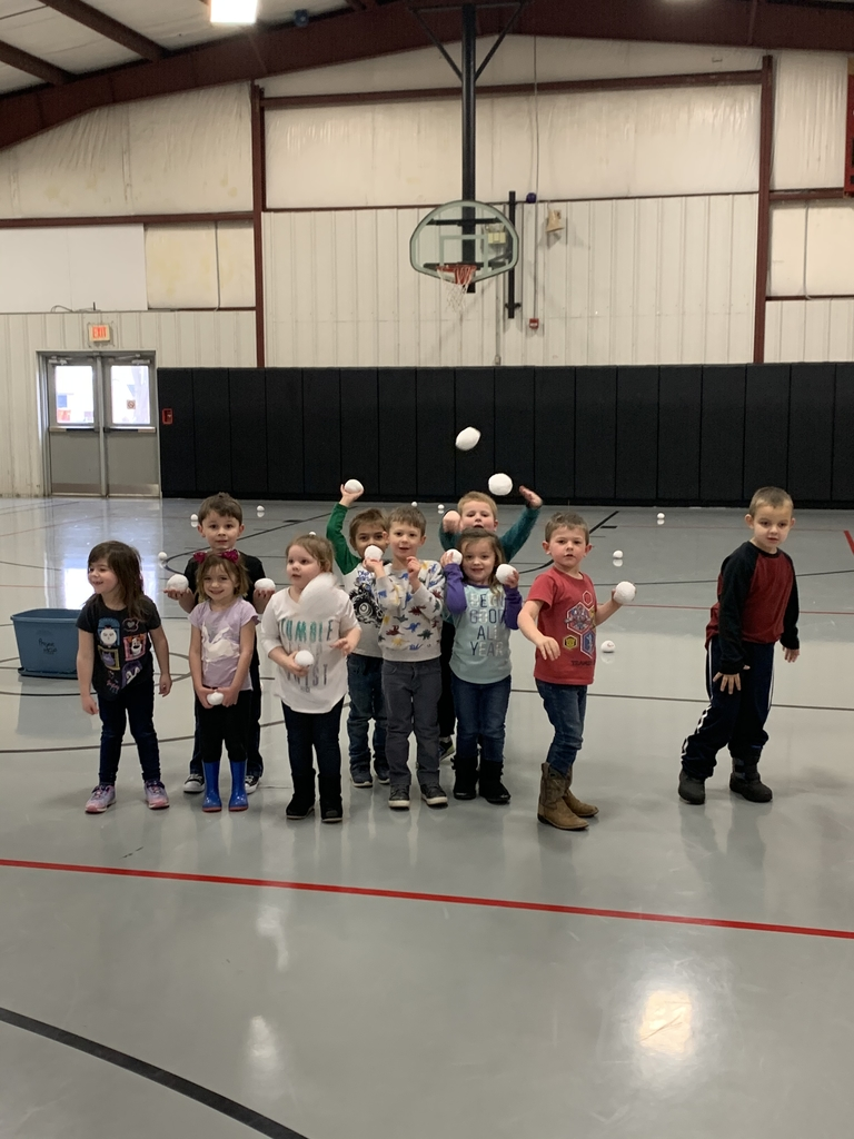 Pre School enjoys a snowball fight in the gym