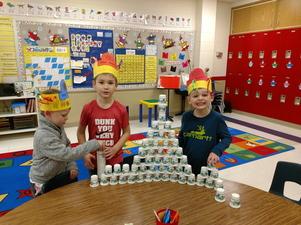 Kindergarten had fun building with 100 items and making a 100 piece snack on the 100th day of school on January 31st