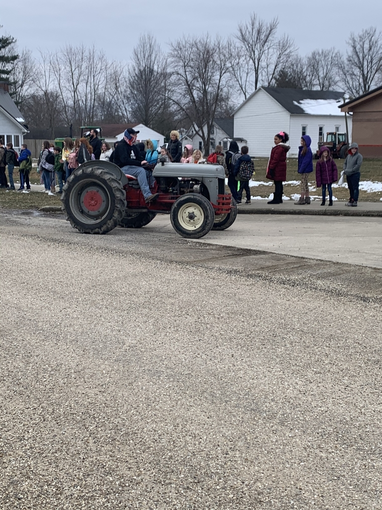 Grade School students were treated to a tractor parade today. Thank you FFA